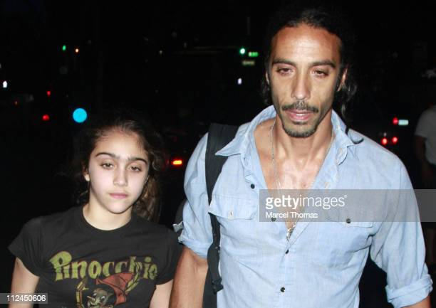 Lourdes Leon and father Carlos Leon attend Friday night prayers at Manhattan Kabbalah Center on June 27 2008 in New York City
