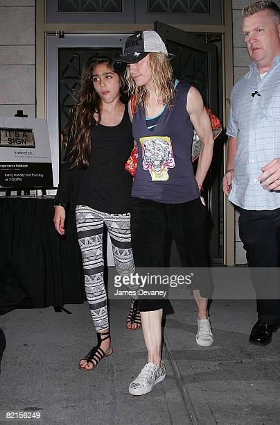 Lourdes Leon and singer Madonna visit the Kabbalah Center in Manhattan on August 1 2008 in New York City