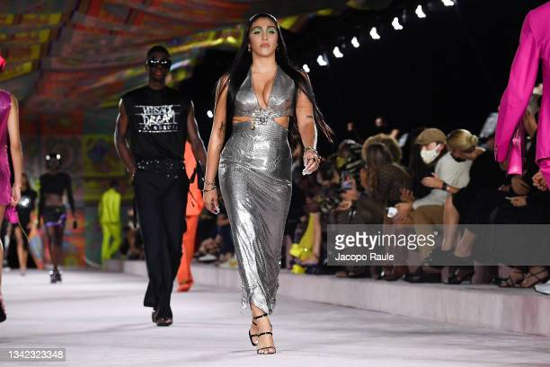 Lourdes Leon walks the runway at the Versace fashion show during the Milan Fashion Week - Spring / Summer 2022 on September 24, 2021 in Milan, Italy.