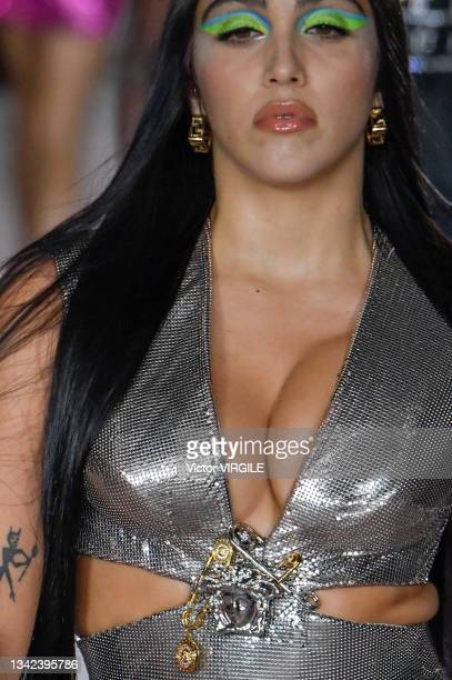 Lourdes Leon walks the runway during the Versace Ready to Wear Spring/Summer 2022 fashion show as part of the Milan Fashion Week on September 24,...