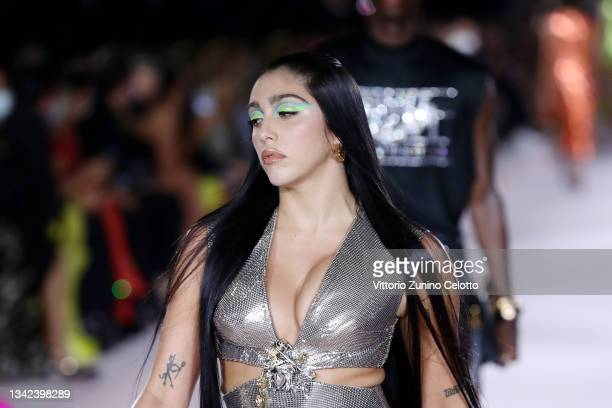 Lourdes Maria Ciccone Leon walks the runway at the Versace fashion show during the Milan Fashion Week - Spring / Summer 2022 on September 24, 2021 in...