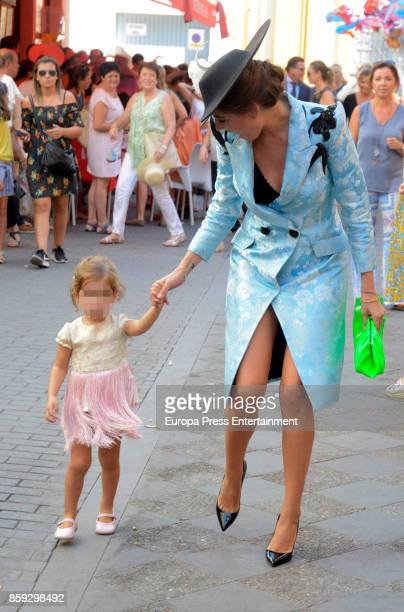 Lourdes Montes and her daughter Carmen Rivera Montes attend Sibi Montes and Alvaro Sanchis's wedding at Parroquia Santa Ana on October 7 2017 in...