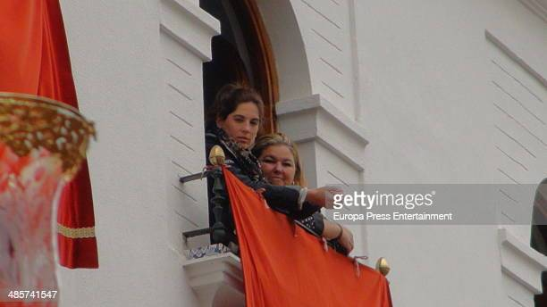 Lourdes Montes attends procesion during Holy Week celebration on April 17 2014 in Malaga Spain