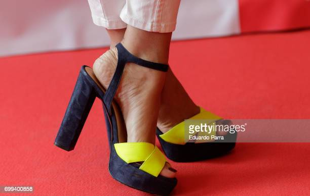 Lourdes Montes shoes detail attends the 'Smart PK by Pikolin' photocall at La Casa del Lector on June 21 2017 in Madrid Spain