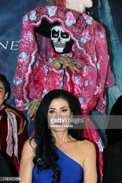 Lourdes Munguía looks on during the press conference to give details about her work in the play 'La Llorona' at Silvia Pinal Theatre on July 11 2019...