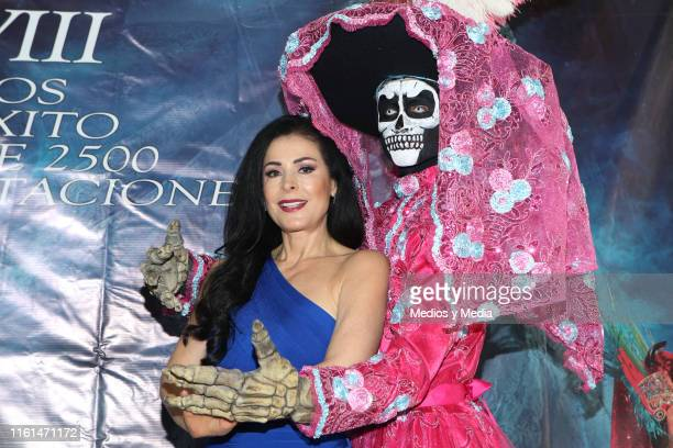 Lourdes Munguía poses for photos after a press conference to present the play 'La Llorona' at Silvia Pinal Theatre on July 11 2019 in Mexico City...