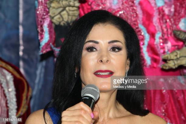 Lourdes Munguía speaks during the press conference to give details about her work in the play 'La Llorona' at Silvia Pinal Theatre on July 11 2019 in...