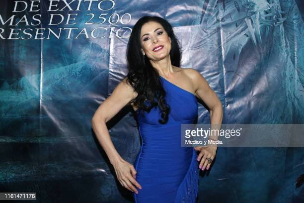 Lourdes Munguia poses for photos after a press conference to present the play 'La Llorona' at Silvia Pinal Theatre on July 11 2019 in Mexico City...