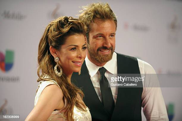 Lourdes Stephen and Gabriel Soto arrive at the 25th Anniversary of Univision's Premio Lo Nuestro A La Musica Latina on February 21 2013 in Miami...