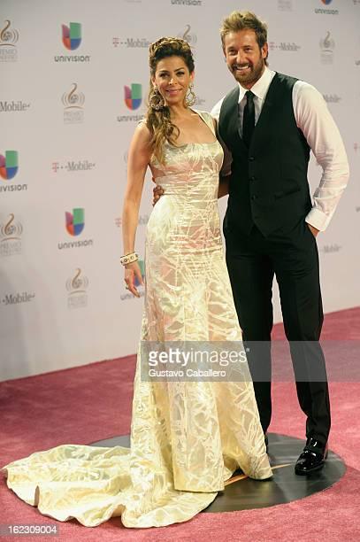 Lourdes Stephen and Gabriel Soto arrive at the 25th Anniversary of Univision's Premio Lo Nuestro A La Musica Latina on February 21 2013 in Miami...