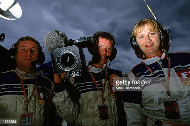 Lousie Goodman the television presenter with her ITV F1 coverage team at the Belgian Grand Prix at the Spa racing circuit in Francorchamps Belgium on...