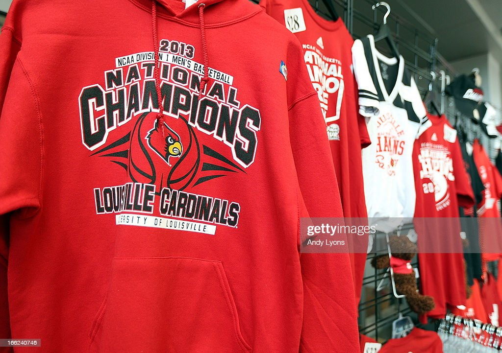 Lousisville Cardinals merchandise is on display before the Louisville Cardinals NCAA Basketball Celebration to mark the NCAA championship by the Mens team and the runner-up finish by the womens team at KFC YUM! Center on April 10, 2013 in Louisville, Kentucky.