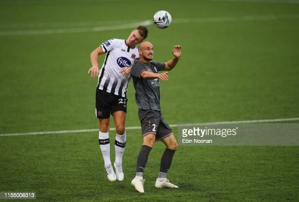 Louth , Ireland - 10 July 2019; Daniel Cleary of Dundalk in action against Roman Debelko of Riga during the UEFA Champions League First Qualifying...