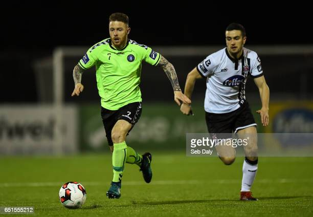 Louth Ireland 10 March 2017 Lee J Lynch of Limerick in action against Michael Duffy of Dundalk during the SSE Airtricity League Premier Division...