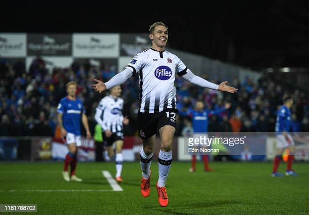 Louth , Ireland - 11 November 2019; Georgie Kelly of Dundalk celebrates after scoring his side's first goal during the Unite the Union Champions Cup...