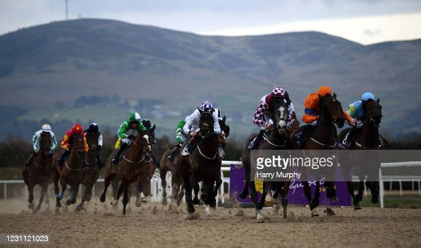 Louth , Ireland - 12 February 2021; Runners and Riders during the Crowne Plaza Hotel Dundalk Maiden at Dundalk Racecourse in Louth.