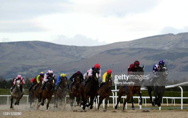 Louth , Ireland - 12 February 2021; Runners and riders during the Follow Us On Twitter @DundalkStadium Maiden at Dundalk Racecourse in Louth.