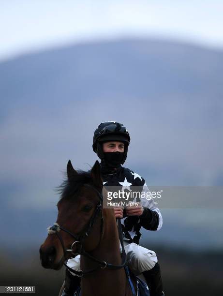 Louth , Ireland - 12 February 2021; Victory March, with James Doyle up, prepares for the Crowne Plaza Hotel Dundalk Maiden at Dundalk Racecourse in...