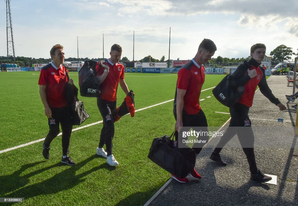 Louth , Ireland - 12 July 2017; Dundalk players arrive before the UEFA Champions League Second Qualifying Round first leg match between Dundalk and Rosenborg at Oriel Park in Louth.