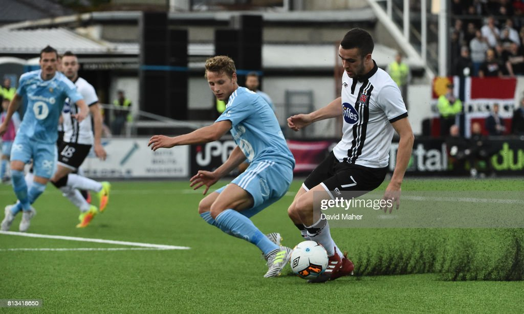 Louth , Ireland - 12 July 2017; Michael Duffy of Dundalk in action against Eggen Begar Hedenstad of Rosenborg during the UEFA Champions League Second Qualifying Round first leg match between Dundalk and Rosenborg at Oriel Park in Louth.
