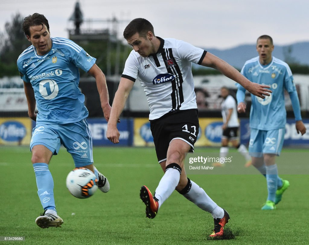Louth , Ireland - 12 July 2017; Patrick McEleney of Dundalk in action against Pal Andre Helland of Rosenborg during the UEFA Champions League Second Qualifying Round first leg match between Dundalk and Rosenborg at Oriel Park in Dundalk, Co Louth.