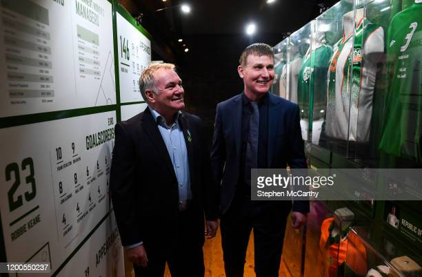 Louth , Ireland - 13 February 2020; Former Republic of Ireland international Ray Houghton, left, and Republic of Ireland U21 manager Stephen Kenny...