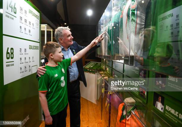 Louth Ireland 13 February 2020 Former Republic of Ireland international Ray Houghton with Shea Mulholland age 12 from Portadown Armagh during the...