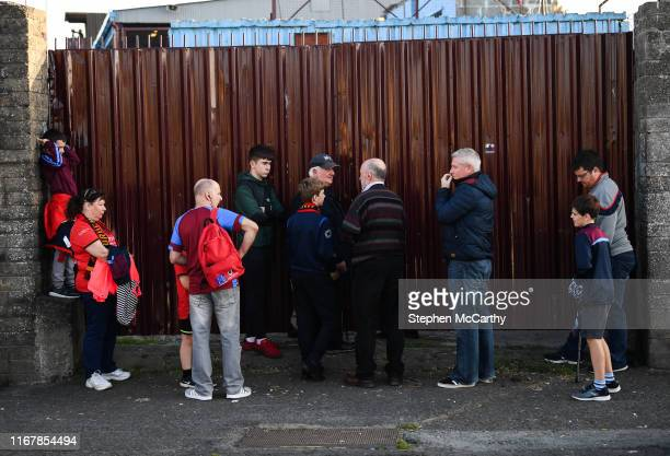 Louth Ireland 13 September 2019 Supporters wait to enter United Park prior to the SSE Airtricity League First Division match between Drogheda United...