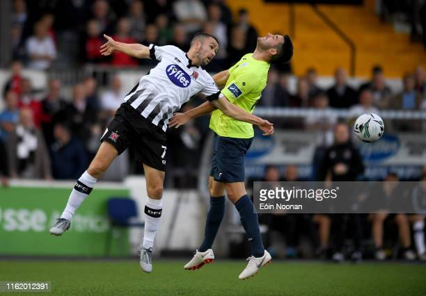 Louth , Ireland - 16 August 2019; Michael Duffy of Dundalk in action against Harry Ascroft of Finn Harps during the SSE Airtricity League Premier...