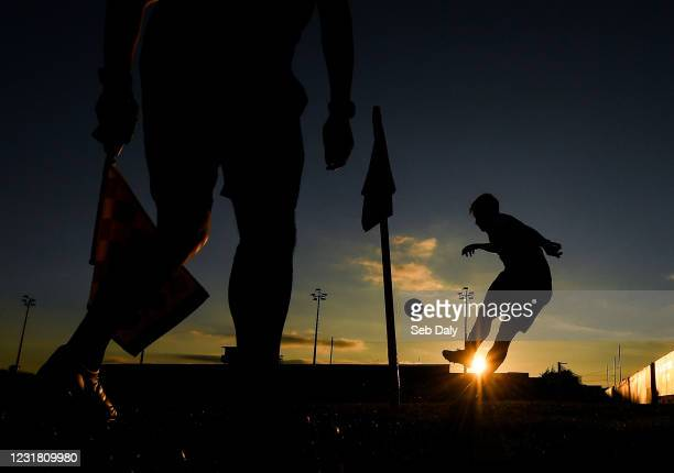 Louth , Ireland - 19 March 2021; Jake Hyland of Drogheda United takes a corner kick during the SSE Airtricity League Premier Division match between...