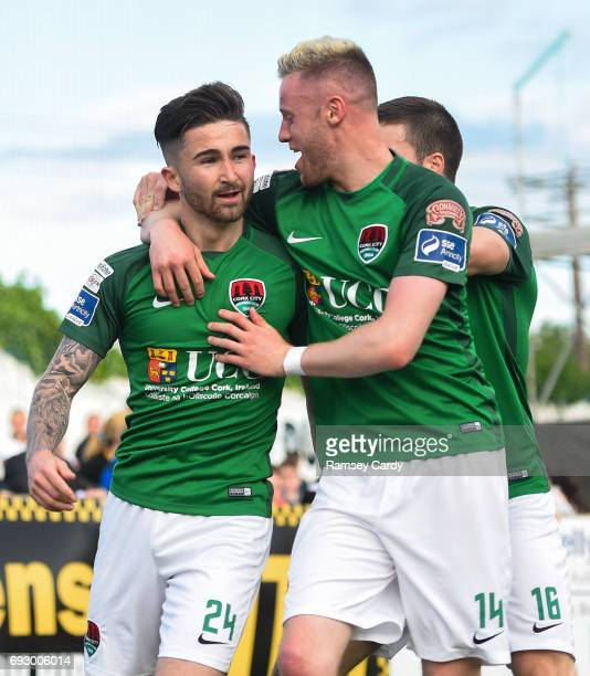 Louth , Ireland - 2 June 2017; Cork City's Sean Maguire celebrates with teammate Kevin O'Connor, right, after scoring his side's first goal of the...