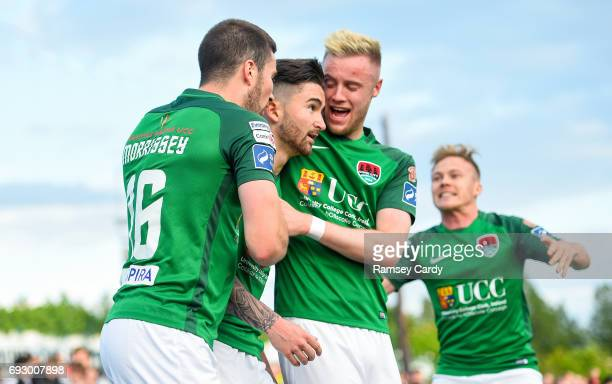 Louth , Ireland - 2 June 2017; Cork City's Sean Maguire, centre, celebrates with teammates Gearóid Morrissey, left, and Kevin O'Connor after scoring...