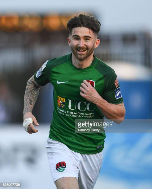 Louth Ireland 2 June 2017 Sean Maguire of Cork City celebrates after scoring his side's third goal of the game during the SSE Airtricity League...
