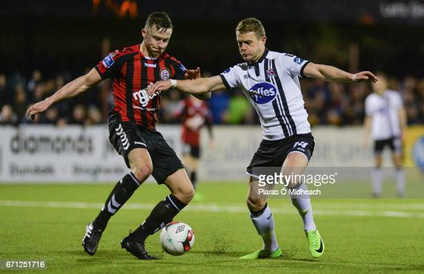 Louth Ireland 21 April 2017 Robert Cornwall of Bohemians in action against Dane Massey of Dundalk during the SSE Airtricity League Premier Division...