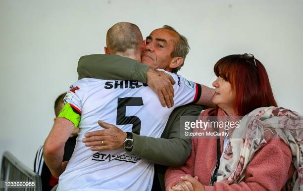 Louth , Ireland - 25 June 2021; Chris Shields of Dundalk having played his final game for the club, with his father Bill and mother Sonia, after the...