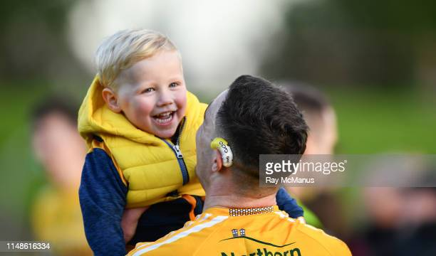 Louth Ireland 8 June 2019 Antrim supporter Lorcan Nolan two years celebrates with his uncle Declan Lynch of Antrim afterthe GAA Football AllIreland...