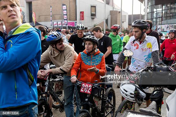 LouvainlaNeuve Belgium Ocotber 15 2014 The 24h vélo de LouvainlaNeuve is a student folklorique race in the student city of LouvainlaNeuve