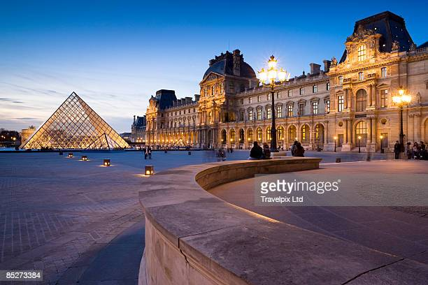 Louvre Museum and Pyramid illuminated