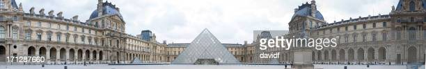 louvre panorama - musee du louvre stock photos and pictures