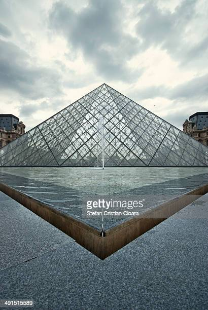 CONTENT] Louvre Pyramid on a cloudy day in Paris