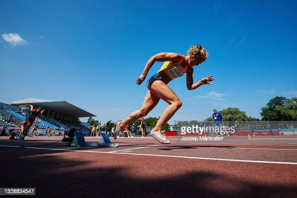 Lova Perman of Sweden competes in the Women's 400m Round 1 heats during European Athletics U20 Championships Day 1 at Kadriorg Stadium on July 15,...