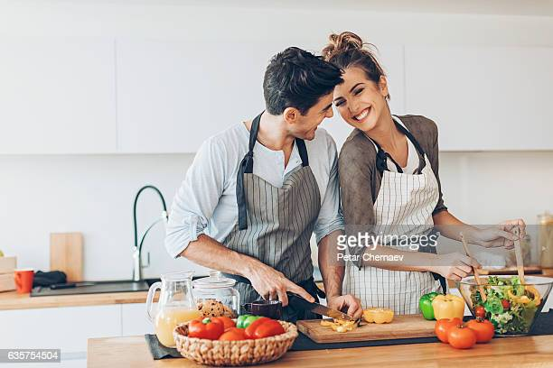 love and cooking - couples stock pictures, royalty-free photos & images