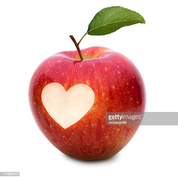 love apple with heart symbol and leaf