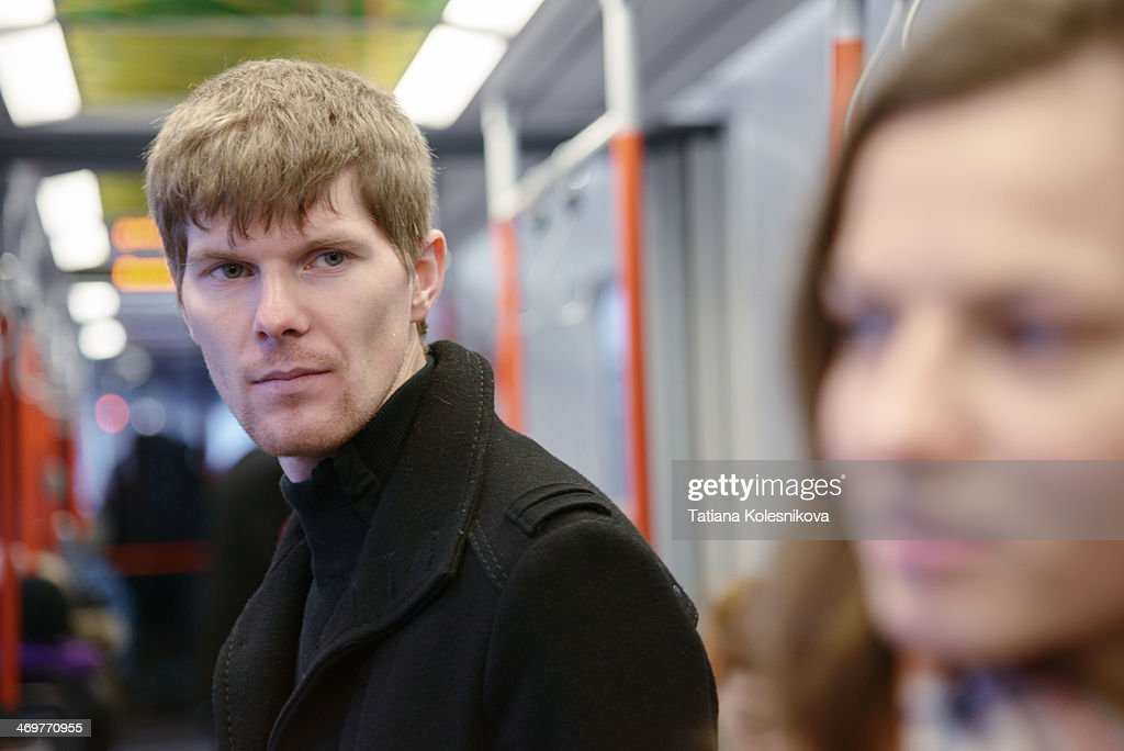 Love at first sight in a bus : Stock Photo