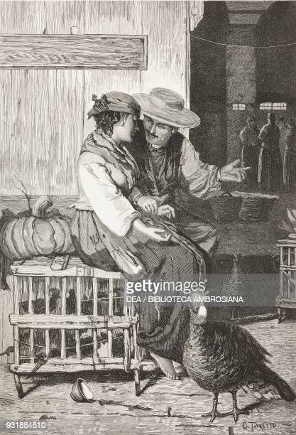 Love between chickens oil painting by Giacomo Favretto engraving by Barberis from L'Illustrazione Italiana Year 6 No 48 November 30 1879