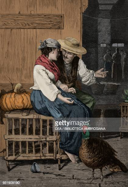 Love between chickens oil painting by Giacomo Favretto engraving by Barberis from L'Illustrazione Italiana Year 6 No 48 November 30 1879 Digitally...