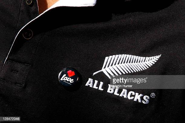 'I Love Christchurch' badge is seen on the jersey of Richard Kahui of the New Zealand All Blacks IRB Rugby World Cup 2011 team during a visit to the...