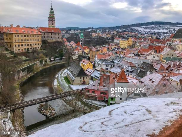 love ck on a snowy morning, český krumlov, czech republic - cesky krumlov castle stock photos and pictures