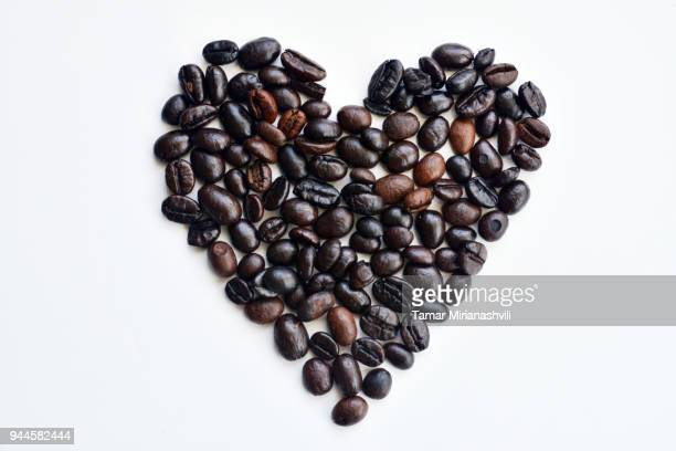 I love Coffee - Heart shaped coffee beans