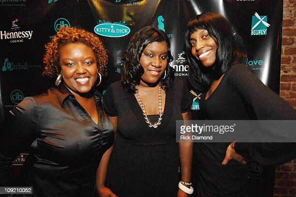 Love Consultants Melanie Mitchell April Love and Brittany Sanders at The Kitty Dick Suite hosted by Project Runways Mychael Knight at Opera in...